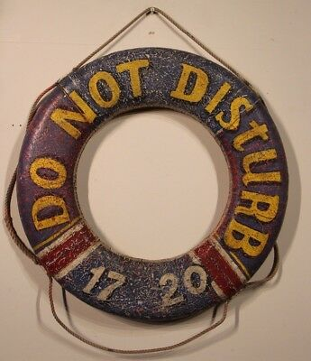 Vintage hand painted life saver nautical bouy floating device rope bound 2 sided