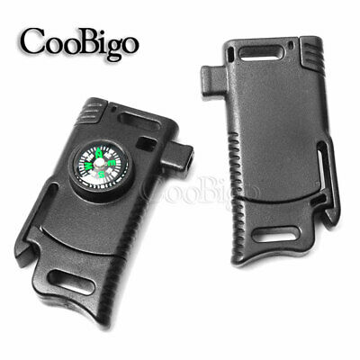 "Flint Fire Starter 1/2"" Compass Whistle Buckle Emergency Survival Knife Paracord"