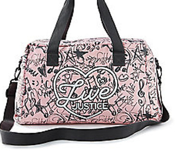 Justice Girl's LIVE JUSTICE Duffel Bag NWT