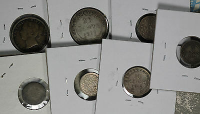 Six (6) Newfoundland Silver Coins - 1849-1917 - One 1944-D Natherlands 10cent