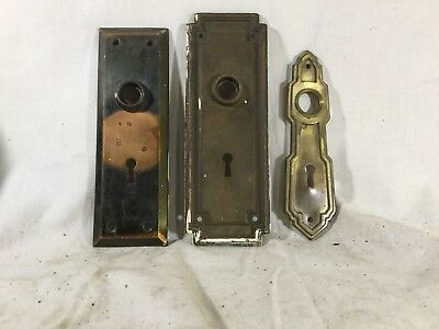 3 Antique Brass Door Knob Back Plates/ Skeleton Key