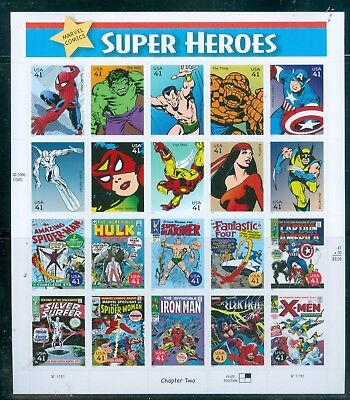 US-4159 MARVEL COMIC SUPERHEROES PANE OF 20-41 cent stamps 2007 V-11111