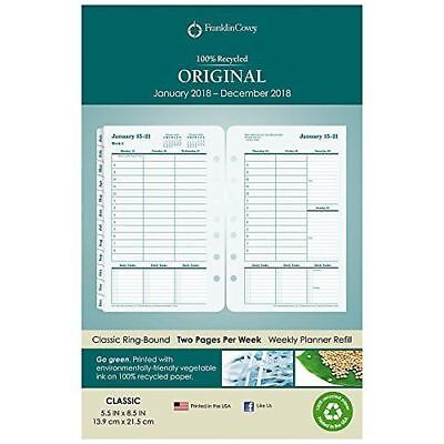 Franklin Covey Classic Original Two PP Week Ring-bound Planner Jan 2018 5.5x8.5