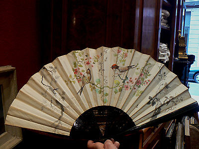 Very Beautiful Antique Large Fan Time 19 #Decorated Chickadees Fabric Painted