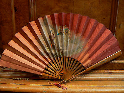 Very Beautiful Antique Large Fan EP 19# Scene Amatory Troubadour Silk Painted