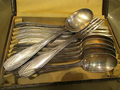 Antique 6 Spoons + 6 Forks Art Deco 1940 Silver Metal Stamped