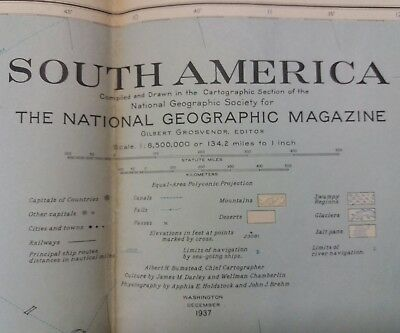 Vintage National Geographic Map - South America (1937)