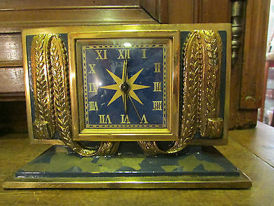 Antique Alarm Clock Brass Golden with L' Gold Style Empire Neo Classic Period