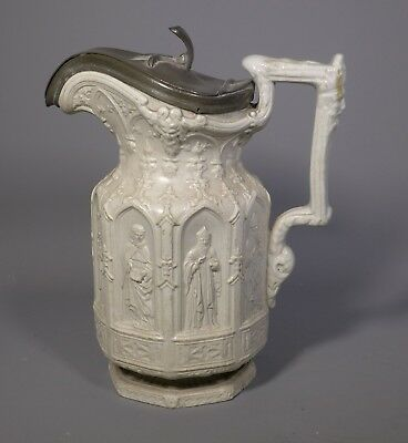 Fine Victorian Charles Meigh Relief Moulded Apostle Jug Ewer With Pewter Lid