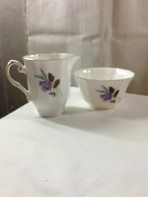 Royal Grafton Fine Bone China Sugar Bowl & Creamer - England - Lavender Floral