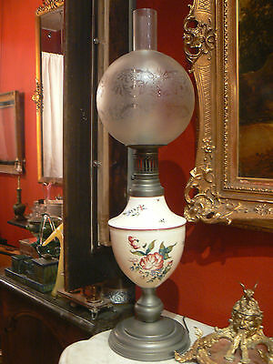 antique big lamp earthenware east islettes and tin globe glass flower