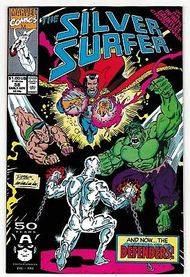 Silver Surfer #58 (Nm-) Infinity Gauntlet Crossover! Defenders! Adam Warlock!