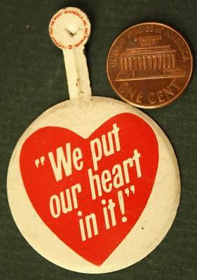 1964 Mr. Donut World's Best Coffee lapel tab button/pin-We put our heart in it!