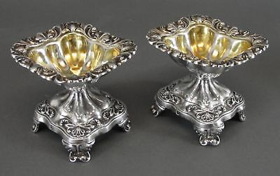 Pair Circa 1830s, Antique 19thC French Sterling Silver, Master Salt Cellars, NR