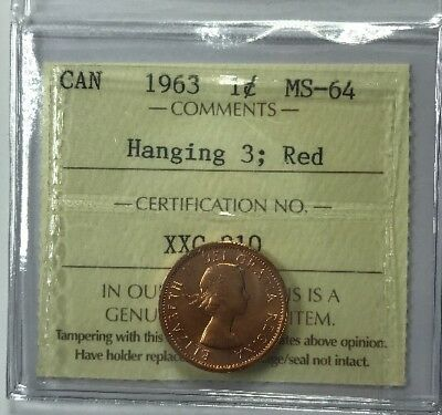1963 Canadian One Cent Coin ICCS Graded MS-64 Hanging 5, Red