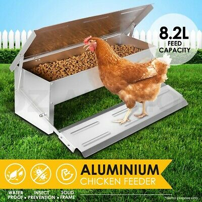 8.2L Aluminium Auto Chook Poultry Chicken Food Feeder Treadle Self Opening Coop