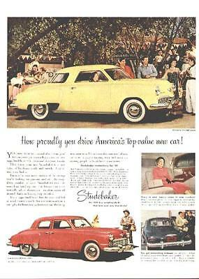 1949 Studebaker Champion Starlight Coupe and Commander 4-door Sedan ad