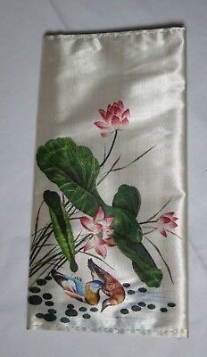 Vintage Silk Wallet Hand Painted White Green Red Floral Birds