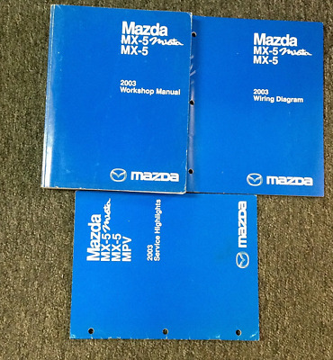 2003 mazda mx-5 mx5 miata mazdaspeed service repair shop manual set w ewd +