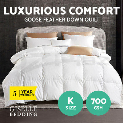 Goose Down Feather Quilt 700GSM Blanket Duvet Doona Cotton Cover Winter King