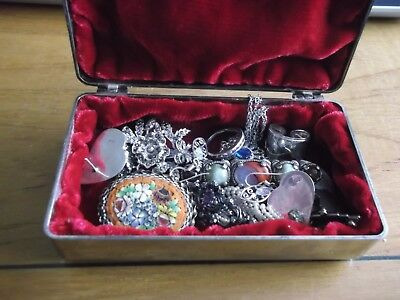BEAUTIFUL BOX CONTAINING VINTAGE JEWELLERY WITH SILVER 99p