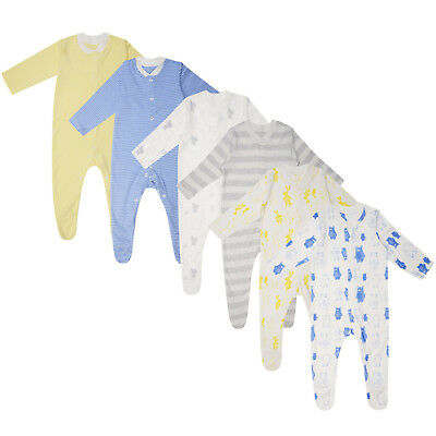Baby Boys 3 Pack Sleepsuits Ex Uk Store Babygrows M&s Tiny Baby - 36M New