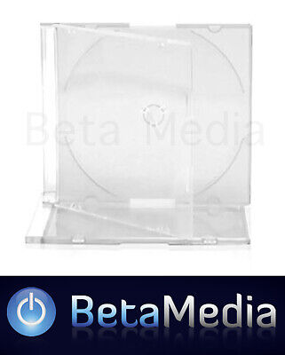 100 x Single Slim Jewel CD Cases with Clear Tray - Slimline Spine