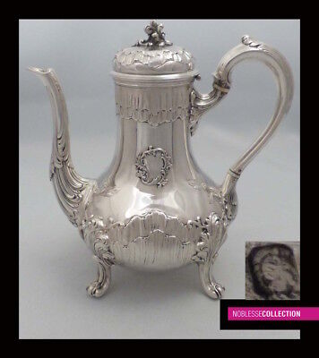 STUNNING ANTIQUE 1900s FRENCH ALL STERLING SILVER COFFEE/TEA POT Rococo style