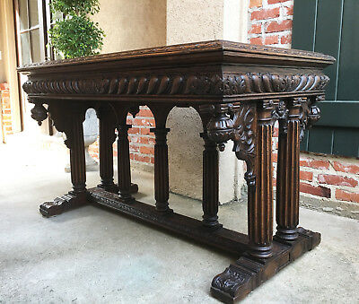 Antique French Carved Oak Victorian Hall Sofa Table Marble Renaissance Gothic