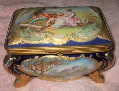 Antique Jewelry Casket Hand Painted Scenes French Porcelain Box Rare Fabulous
