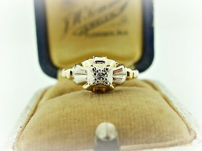 GENUINE Diamond Mid Century Two Tone 14k Yellow & White Gold Diamond Ring 5.25