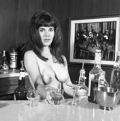 1960s Vogel Negative, busty nude pin-up girl Brigette Cannes behind bar, t990641