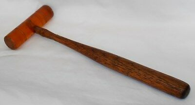 Vintage Antique Full Plastic Head No Mar Mallet Hammer Old Oak Wood Handle L@@K!