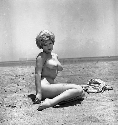1960s Vogel Negative, busty nude pin-up girl Terry Higgins at the beach, t970438