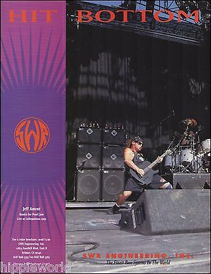 Pearl Jam Jeff Ament Lollapalooza 1992 SWR Bass guitar systems 8 x 11 ad print