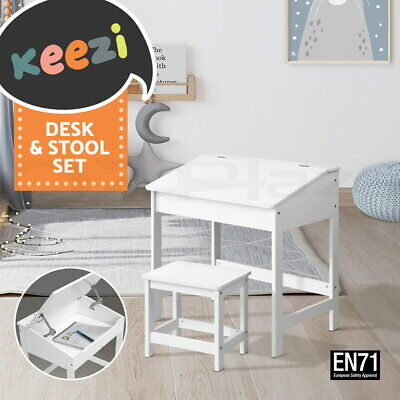 Kids Toddler Children Writing Desk Lift-Top Storage Play Study Chair Set White