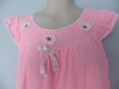 Vintage Nightgown Lingerie Brushed Nylon Roxanna Lace Flowers Sissy Very Soft M