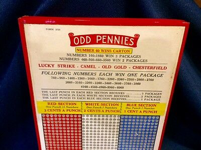 Old Odd Pennies Gambling Punch Board Lucky Strike Camel Cigarettes Trade Game
