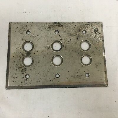 Vtg Machined Chrome Brass 3 Gang Push Button Electrical Wall Switch Cover Plate