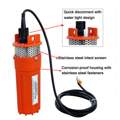 12V DC Solar Powered Deep Submersible Water Well Pump 230ft Farm Ranch Household