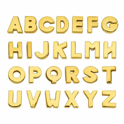 New 5PCS 8MM DIY Plain Gold Slider Charms letters A-Z Fit DIY Name Pet Collar