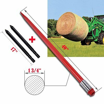 """49"""" 3000 lb Hay Bale Spear w/ 17"""" Pair Stabilizer Bale Spears Spike Fork Tine"""