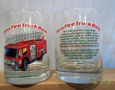 Hess 1996 Classic Truck Series Glass Red Fire Truck Drinking Glass
