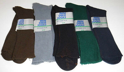 Vtg New Lot of 5 Pairs Mens Dress Socks Orlon Nylon Gray Black Navy Brown Green