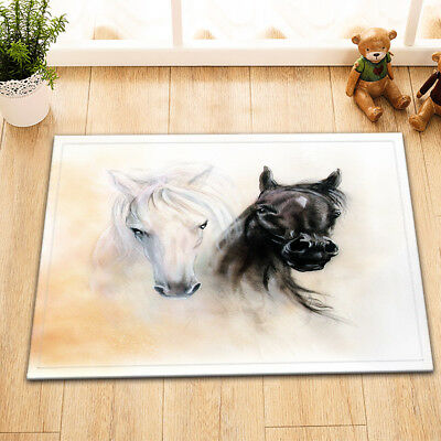 Spirit Black White Horse Bath Mat Bathroom Rug Non-Slip Home Decor Carpet 24x16""