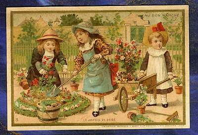 Chromo Au Bon Marche bm155 ferme Fillette Girls jardin garden Minot Trade Card