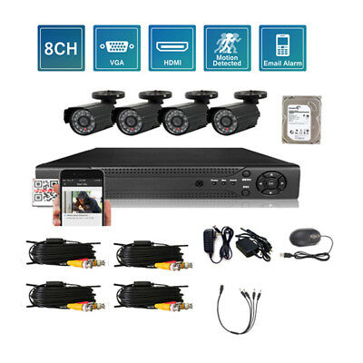 8CH HDMI 960H HD DVR Outdoor/Indoor IR-CUT CCTV Camera Home Security System 1TB