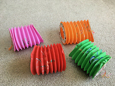 Chinese Paper Lanterns Vintage LOT OF 4 Accordion Butterfly Patio Party New Year