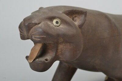 Finely Carved Wooden Art Deco Early C20th Panther Figurine. Ref EUA