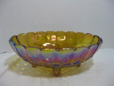 Indiana Carnival Glass Harvest Gold Oval Center Piece Footed Fruit Bowl